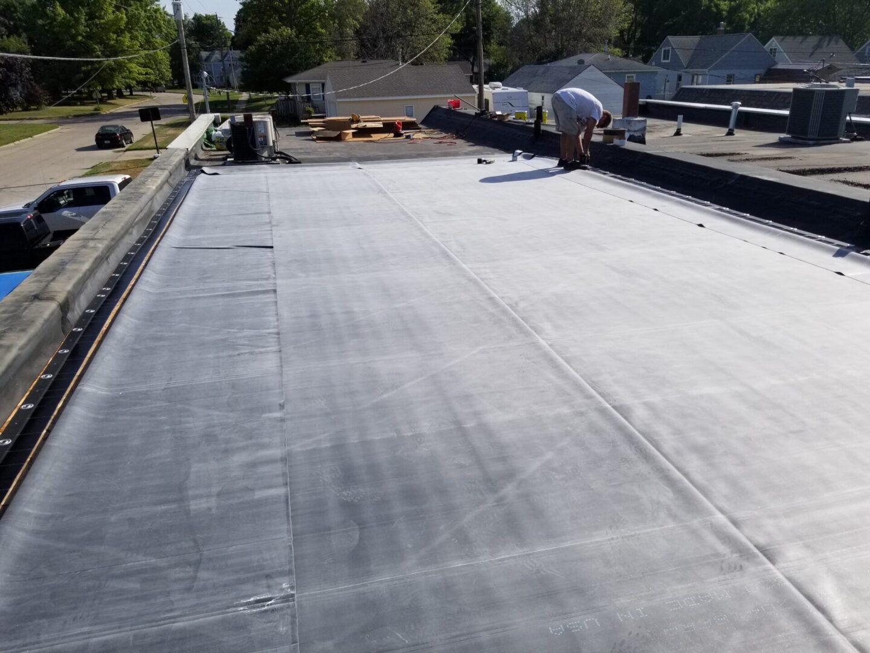 Flat roof single ply membrane